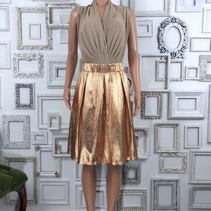 Anthro Moulinette Soeurs Gold Pleated Skirt